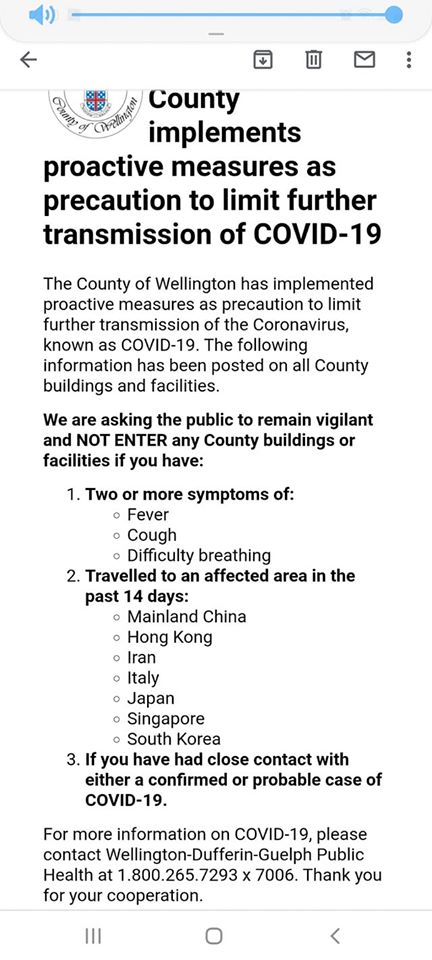 County of Wellington Covid-19 advice
